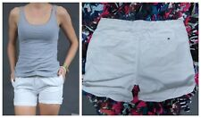 TOMMY HILFIGER Womens White Roll Up Mini Thin Casual Shorts Hot Pants SIZE UK14