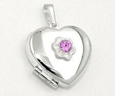 Foto Medaillon Herz Amulett rosa Zirkonia Bilder Anhänger Silber 925 mit Kette