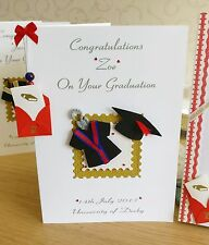 EXTRA Large Handmade Personalised Graduation Card -  RED & BLUE GOWN real scroll