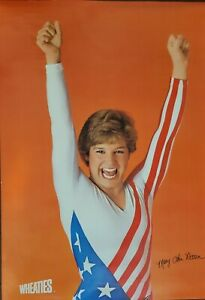 VINTAGE POSTER~Mary Lou Retton 1984 Summer Olympics Wheaties Gymnastics Signed~