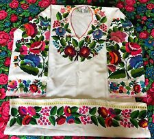 Ukrainian Vyshyvanka Hand Embroidered Wool Dress Women Vintage Sorochka Linen