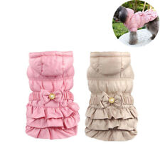 Dog Clothes Winter Hooded Coat Puppy Pets Waterproof Pink Princess Dress Costume