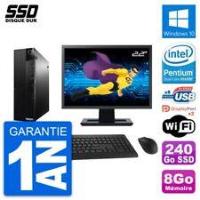 "PC Lenovo M83 SFF Ecran 22"" Intel G3220 RAM 8Go SSD 240Go Windows 10 Wifi"
