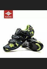 Santic Men Road Bike Cycling Camouflage Shoes Self-lock Riding Shoes Size 8 GREE