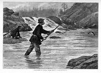 SALMON FISHING IN CANADIAN WATERS BY A. B. FROST INDIAN CANOE 1883 CANADA FISH