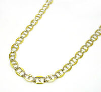 "3mm 16-22"" 10K Two Tone Gold Diamond Cut Mariner Anchor Cuban Chain Necklace"