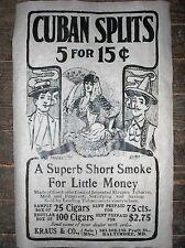 "(320L) VINTAGE REPRINT ADVERT CUBAN CIGARS KRAUS & Co. BALT., MD. 1903 11""x17"""