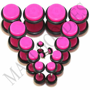 "V068 Fake Cheaters Illusion Plugs 4 2 0 00G 7/16 1/2"" Hot Pink 5 6 8 10 11 12mm"