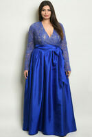 Womens Plus Size Blue Lace Overlay Taffeta Evening Gown Maxi Dress 3XL