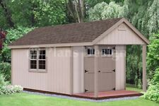 16' x 10' Cabin Pool House / Shed with Porch Plans #P61610, Free Material List