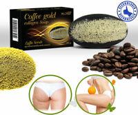 COFFEE GOLD COLLAGEN SOAP SCRUB LUFFA LOOFAH CELLULITE WHITENING ANTI AGING