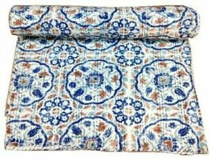 Indian Handmade Kantha Quilt Vintage King Size Bedspread Throw Cotton Blanket