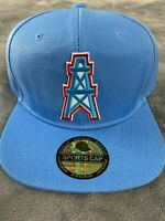 HOUSTON OILERS NFL VINTAGE LIGHT BLUE THROWBACK LOGO HAT CAP SNAPBACK A8 NEW