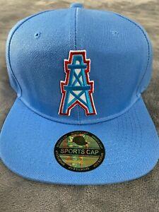 HOUSTON OILERS NFL VINTAGE LIGHT BLUE THROWBACK LOGO HAT CAP SNAPBACK NEW (i)