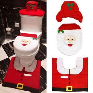 3PCS CHRISTMAS FESTIVE santa TOILET SEAT COVER SET BATHROOM Set XMAS DECORATION