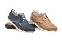 Zapatos Casual con Cordones Piel Azul Marino Marrón talla 39 40 41 42 43 44 45