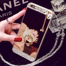 Para iPhone XS Bling Diamante Anillo Max XR Espejo de pie Estuche Cubierta y Cristal Correa