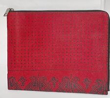 NewCoach Crossgrain Leather Red Bandit Printed Slim Zip Tablet Case Folio F63321