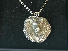 """Lion's Head TG23 Pewter On 16"""" Silver Plated Curb Necklace"""