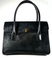 LAMBERTSON TRUEX Handbag Black Calf Hair Tote Top Handle Purse *EXCELLENT*