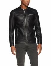 Only & Sons Mens Slim Fit Synthetic Leather Black Biker Jacket