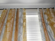 Beacon Hill Silk Drapes floral Damask Stripes yellow gray gold Custom new PAIR