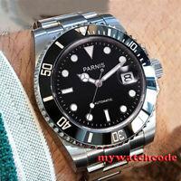 40mm PARNIS black dial sapphire glass date miyota automatic mens wrist watch
