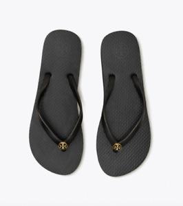 Tory Burch NEW Black PVC Thin Flat Flip Flop Flops Gold Logo US  8 11 $58