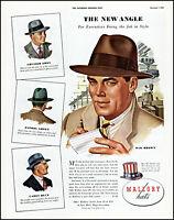 1942 Mallory Hats The New Angle Hat men's head wear vintage art print ad L7