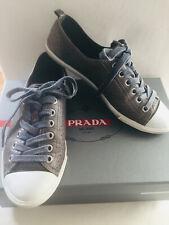Prada Canvas Sneaker Gr 36,5 37 Graublau Taupe