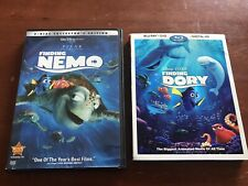 (2) Disney Finding Nemo Collector's Edition & Finding Dory Blu-Ray + Digital Hd