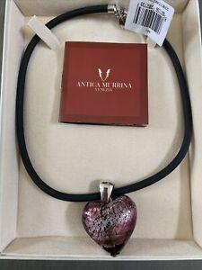 NWT Designer ANTICA MURRINA Venezia Murano Art Glass Heart Bead Costume Necklace