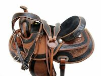 WESTERN TRAIL SADDLE 15 16 17 18 BROWN TOOLED LEATHER HORSE PLEASURE TACK SET