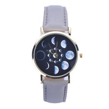Gray Band Wrist Watch Occult Moon Phases Leather