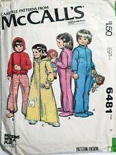 McCalls Boys Girls Toddlers Pyjamas Jumpsuit Bath Robe Pattern Size 2 Chest 21