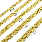 .925 Sterling Silver Gold Plated Hollow Box Byzantine Chain Necklace 4mm - 7.5mm