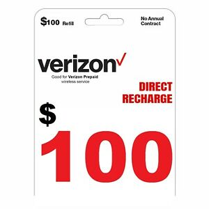 VERIZON Prepaid $100 Refill Top-Up Prepaid Card / DIRECT RECHARGE