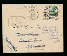 India ww2 1943 stampati LIBRO POST CENSURATO Malvern reindirizzato Yorks GB