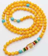 6mm Tibet Buddhist 108 Yellow Tridacna Shell Prayer Beads Lama Necklace Bracelet