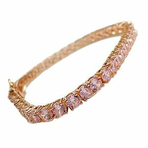 """Tennis Bracelet Pink Iced Rose Gold Finish Flooded Out 4MM Thick 7"""" or 8"""" Inch"""