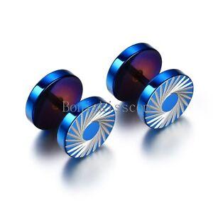 2Pcs Men's Tornado Barbell Blue Stainless Steel Round Screw Ear Studs Earrings