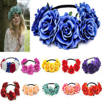Large Crown Boho Lady Flower Festival Wedding Garland Forehead Hair Headband