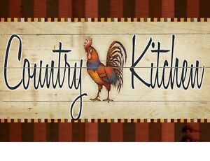 "TIN SIGN ""Country Kitchen"" Farm Deco Rustic Wall Decor"