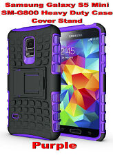 Purple Samsung Galaxy S5 Mini G800 Strong Heavy Duty Tradesman Case Cover Stand