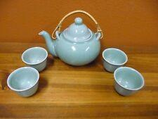 Lillian Vernon Koi Fish Celadon Green Tea Pot With 4 Sake Tea Cups