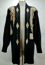 Vintage Womens Black Cheetah Animal Print Cardigan Sweater One Size Focus USA