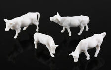 50 x HO Scale Model UnPainted White Farm Animals Cows Different Poses 1:87