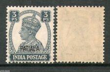 India PATIALA State 3ps KG VI SG 103 / Sc 102 Cat £4 MNH