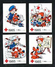 Belgique - Croix-Rouge - Boule et Bill - 4 Autocollants 1985.
