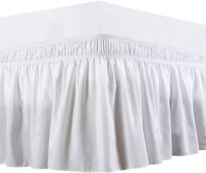Wrap Around Bed Skirts Elastic Dust Ruffles - White Queen Size - 16 Inches Drop